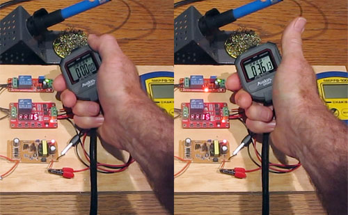 Using a stop watch each time I set the trimmer pot on the delay timer